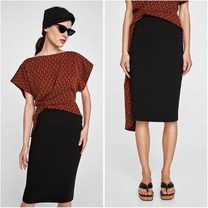 Zara   Black Stretch Knit High Waist Tube Skirt